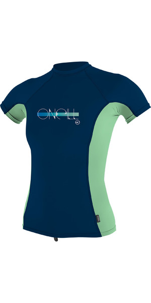 2019 O'Neill Girls Premium Skins Short Sleeve Rash Vest Abyss / Mint 4175