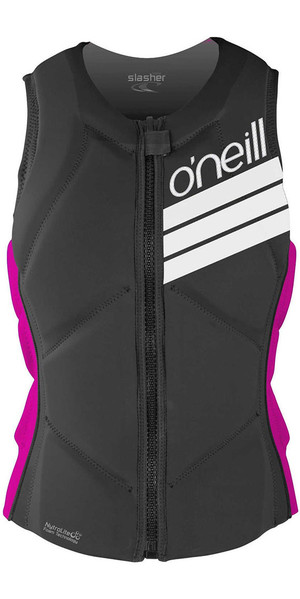 2018 O'Neill Womens Slasher Comp Impact Vest BLACK / PUNK PINK 4938EU