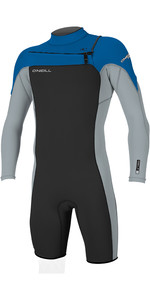 2019 O'Neill Mens Hammer 2mm L / S Chest Zip Spring Shorty Wetsuit Black / Cool Grey / Ocean 4928