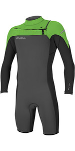 2019 O'Neill Hammer 2mm Long Sleeve Chest Zip Shorty Wetsuit Graphite / Black / Day Glo 4928