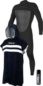 O'Neill Mens O'riginal 5/4mm Chest Zip Wetsuit Black + Wetsuit Shampoo & Northcore Beach Basha Changing Robe Blue Stripes