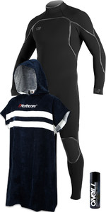 O'Neill Mens Psycho One 5/4mm Back Zip Wetsuit Black + Wetsuit Shampoo & Northcore Beach Basha Changing Robe Blue Stripes