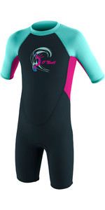 2019 O'Neill Toddler Reactor 2mm Back Zip Shorty Wetsuit Slate / Berry / Seaglass 4867