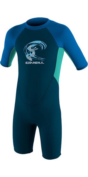 2019 O'Neill Toddler Reactor 2mm Back Zip Shorty Wetsuit Slate / Aqua / Ocean 4867