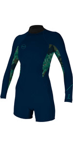 2019 O'Neill Womens Bahia 2/1mm Back Zip Long Sleeve Shorty Wetsuit Abyss / Faro 5291