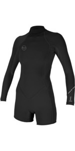 2019 O'Neill Womens Bahia 2/1mm Back Zip Long Sleeve Shorty Wetsuit Black 5291