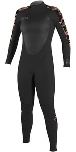 2021 O'Neill Womens Epic 4/3mm Back Zip GBS Wetsuit 4214 - Black / Flo