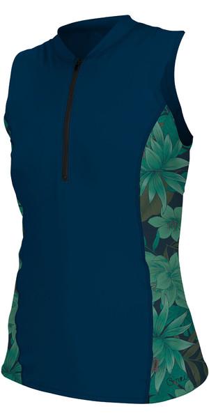 2019 O'Neill Womens Front Zip Cap Sleeve Sun Shirt Abyss / Faro 5307S