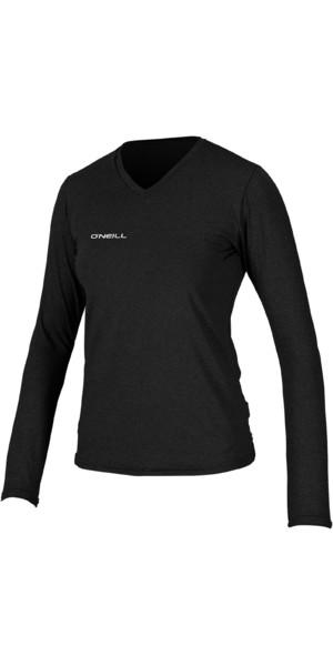 2019 O'Neill Womens Hybrid Long Sleeve V Neck Sun Shirt Black 5320