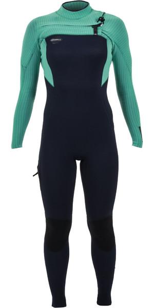 2019 O'Neill Womens Hyperfreak 4/3mm Chest Zip Wetsuit Abyss / Seaglass 5322