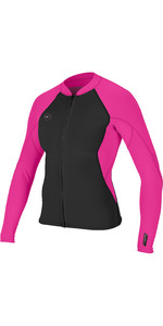 2019 O'Neill Womens Reactor II 1.5mm Front Zip Neoprene Jacket Black / Berry 5294
