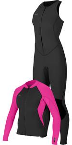 O'Neill Womens Reactor II 1.5mm Long Jane & Neoprene Jacket Package Deal - Black / Pink