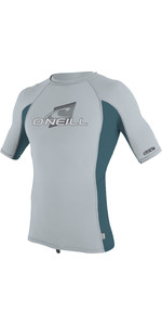 2019 O'Neill Youth Premium Skins Short Sleeve Rash Vest Cool Grey / Teal 4173