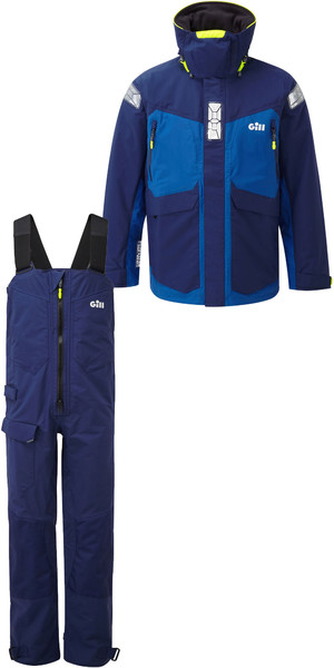 2019 Gill OS2 Mens Offshore Jacket OS24J & Trouser OS24T Combi Set Blue