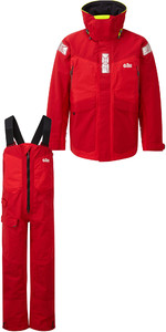 2019 Gill OS2 Mens Offshore Jacket OS24J & Trouser OS24T Combi Set Red