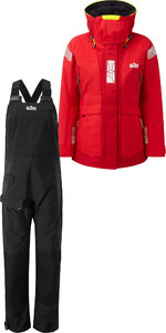 2019 Gill OS2 Womens Offshore Jacket OS24JW & Trouser OS24TW Combi Set Red /  Black