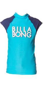 Billabong Junior Wash Away Short Sleeve Rash Vest in FIJI BLUE P4KY09