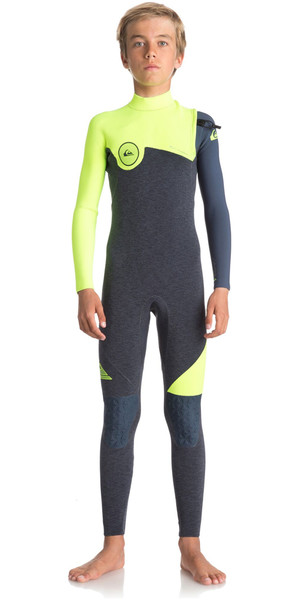 2018 Quiksilver Boys Highline Series 4/3mm Zipperless Wetsuit HEATHER SLATE / SAFETY YELLOW EQBW103033