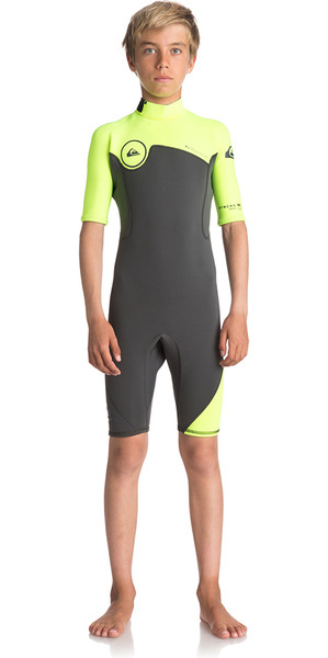 2018 Quiksilver Boys Syncro Series 2mm Back Zip Shorty Wetsuit JET BLACK / SAFETY YELLOW EQBW503004