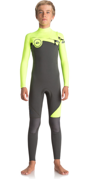 2018 Quiksilver Boys Syncro Series 4/3mm Chest Zip Wetsuit JET BLACK / SAFETY YELLOW EQBW103021
