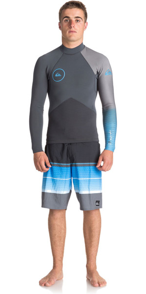 2018 Quiksilver Highline+ 2mm Long Sleeve GBS Neoprene Jacket GUNMETAL / ROYAL BLUE EQYW803009