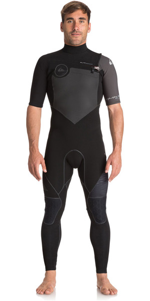 2018 Quiksilver Highline Plus 2mm Short Sleeve Chest Zip Wetsuit JET BLACK EQYW303006