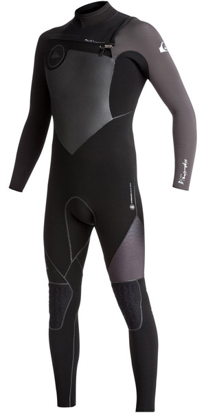 2018 Quiksilver Highline+ 4/3mm Chest Zip Hydrolock Wetsuit JET BLACK EQYW103047