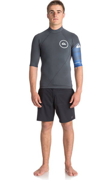 2018 Quiksilver Syncro New Wave 1mm Short Sleeve Neoprene Top GUNMETAL / ROYAL BLUE EQYW903003