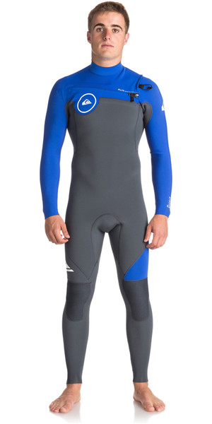2018 Quiksilver Syncro Series 4/3mm GBS Chest Zip Wetsuit GUNMETAL / ROYAL BLUE EQYW103042