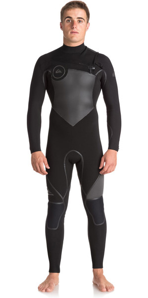 2018 Quiksilver Syncro+ 4/3mm Chest Zip Wetsuit JET BLACK EQYW103044