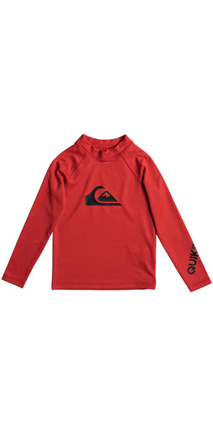 2018 Quiksilver Boys All Time Kid Long Sleeve Rash Vest QUIK RED EQKWR03020