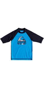 Quiksilver Boys Bubble Dream Short Sleeve Rash Vest BLUE EQKWR03024