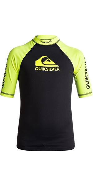 2018 Quiksilver Boys On Tour Short Sleeve Rash Vest SAFETY YELLOW EQBWR03039