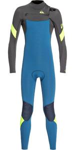 2019 Quiksilver Junior Boys Syncro 4/3mm Chest Zip Wetsuit Marina / Jet Black EQBW103053