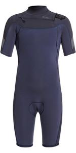 2021 Quiksilver Junior Syncro 2mm Chest Zip Shorty Wetsuit EQBW503015 - Black Navy