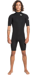 2021 Quiksilver Mens Syncro 2mm Chest Zip Shorty Wetsuit EQYW503014 - Black / White