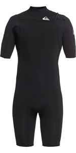 2021 Quiksilver Mens Syncro 2mm Chest Zip Shorty Wetsuit EQYW503023 - Black / Silver