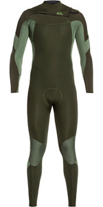 2019 Quiksilver Mens Syncro 4/3mm Chest Zip Wetsuit Dark Ivy / Shade Olive EQYW103087