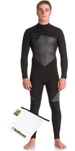 Quiksilver Mens Syncro Series 5/4/3mm GBS Back Zip Wetsuit JET BLACK & Northcore Waterproof Wetsuit Bag