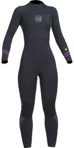 2019 Gul Response FX Womens 5/4mm GBS Back Zip Wetsuit Black / Mulberry RE1266-B1