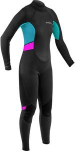 2021 Gul Womens Response 3/2mm Back Zip Wetsuit RE1319-B9 - Black / Cyan