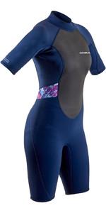 2021 Gul Womens Response 3/2mm Flatlock Shorty Wetsuit RE3318-B9 - Navy / Tiedye