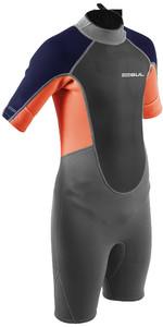 2021 Gul Junior Response 3/2mm Back Zip Flatlock Shorty Wetsuit RE3322-B9 - Grey / Orange