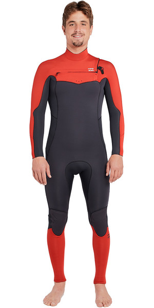 2019 Billabong Furnace Absolute 4/3mm Chest Zip Wetsuit Red L44M09