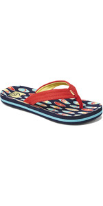 2020 Reef Junior Ahi Flip Flops / Sandals RF0A3VBL - Red Surfer