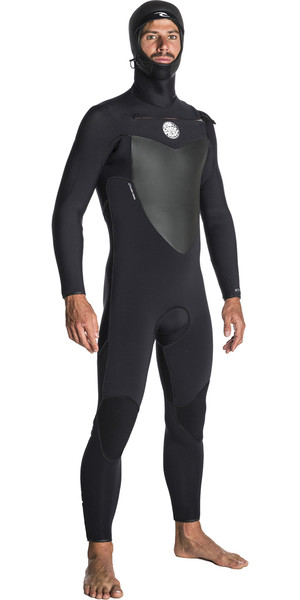 2018 Rip Curl Flashbomb 6/4mm Hooded Chest Zip Wetsuit BLACK WST7OF