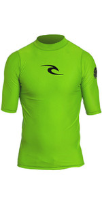 2019 Rip Curl Junior Boys Corpo Short Sleeve UV Tee Rash Vest Lime WLY5DB