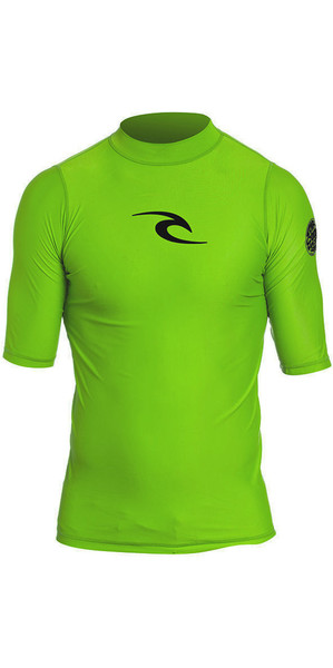 2018 Rip Curl Junior Boys Corpo S / S UV Tee Rash Vest Lime WLY5DB