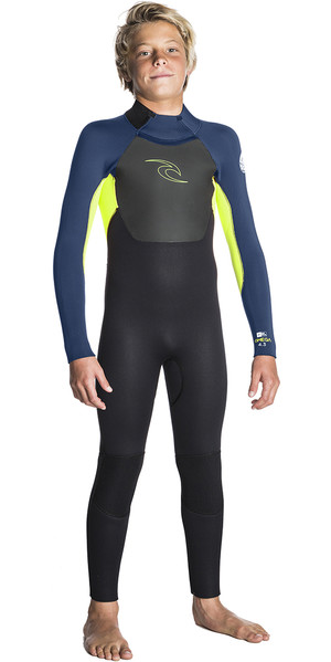 2018 ip Curl Junior Omega 4/3mm GBS Back Zip Wetsuit LIME WSM5FB