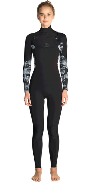 2018 Rip Curl Womens Flashbomb 5/3mm Chest Zip Wetsuit BLACK / GREY WST7GS